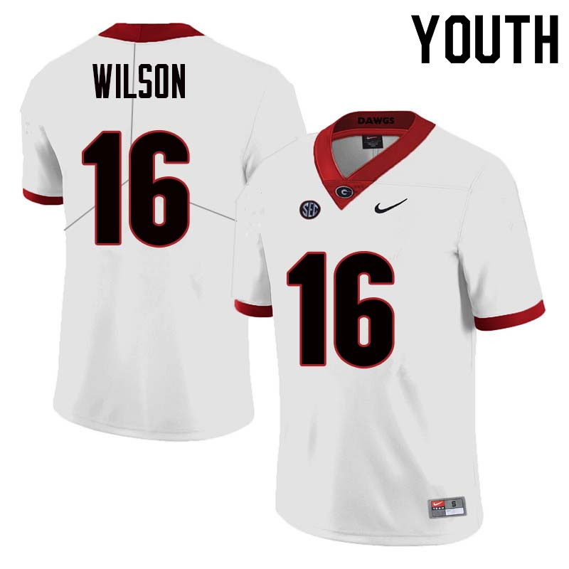 Youth Georgia Bulldogs #16 Divaad Wilson College Football Jerseys Sale-White
